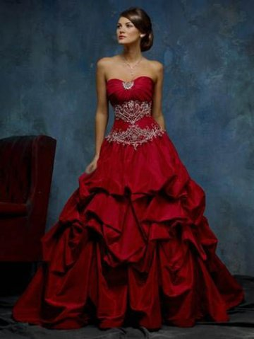 Red wedding dress 1 fantastical wedding stylings for Short red and white wedding dresses