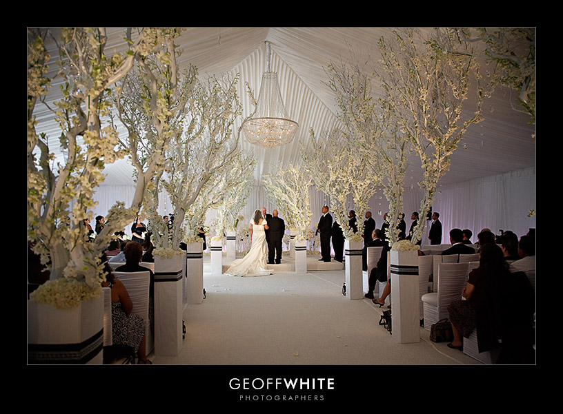 All White Indoor Wedding Ceremony Site: Fantastical Wedding Stylings
