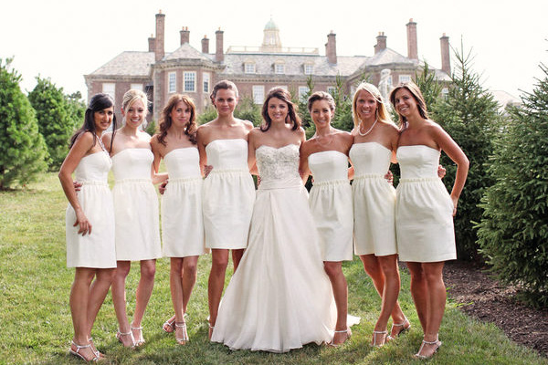 White out wedding party fantastical wedding stylings for All white wedding dress