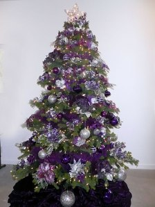 Purple And Silver Christmas Trees.Purple And Gold Fantastical Wedding Stylings