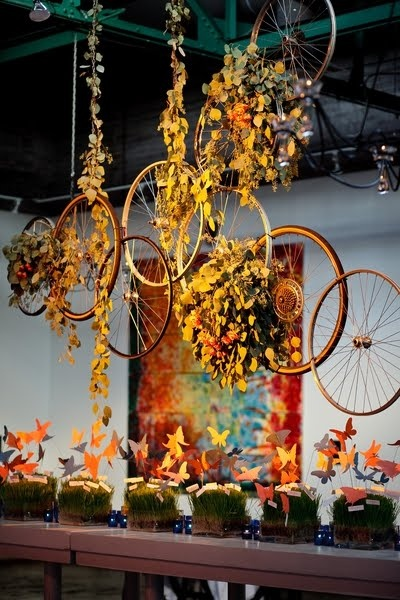 bicycle hanging centerpiece via ruffled
