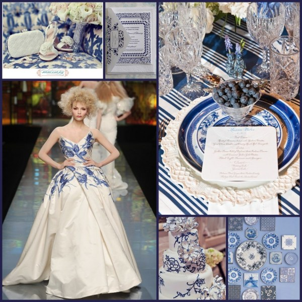 BlueandWhitePorcelain Wedding Collage